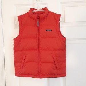 Lands End Puffer Vest Jacket Size L 6x-7 Orange